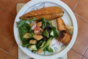 Mackeral, avocado and melon