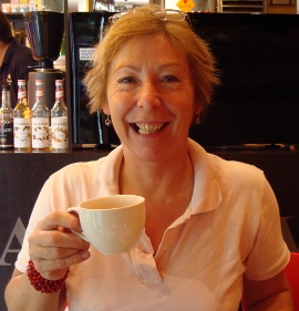 Susan Cowe - reiki practitioner - drinking tea in Melbourne, Australia